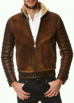 Shearling Brown Suede Leather Jacket by CosplayCostume