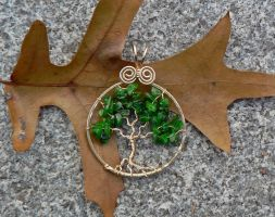 Deep Green Tree Pendant by magpie-poet