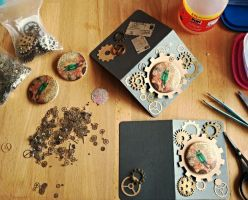 Steampunk button greeting cards by kiriOkami