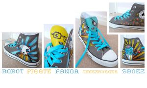 Robot Pirate Panda Shoes by ponychops