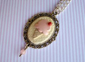 Strawberry Ice Cream Cameo Necklace by VapidRose