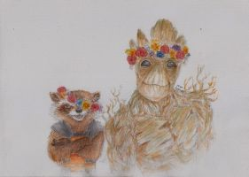 rocket and groot flower crowns by minihumanoid
