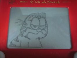 Etch A Sketch: Garfied by HoshiKan