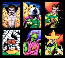 The Sinister Six sketch cards by thelearningcurv