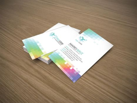 Pixel code business card by Lemongraphic