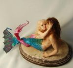 mermaid couple by polymer-people