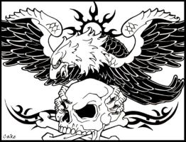 Skull and Eagle Tattoo Design by CakeKaiser