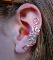 Multi Swirl Ear Cuff Silver Plated by jhammerberg