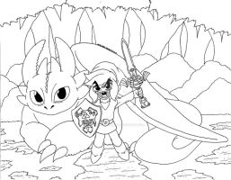 Toothless and Link Collaboration Line Art 01 by d13mon-studios