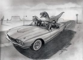 Fear And Raptors On Route 66 by RobtheDoodler