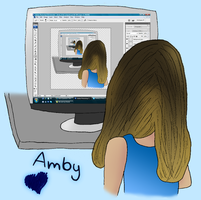Amby at Her Computer by kookiekween99