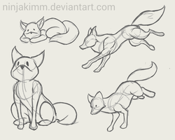 fox pose set (commission rough sketch) by ninjakimm