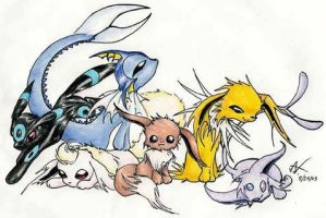 Eevee Evolutions by ashkey