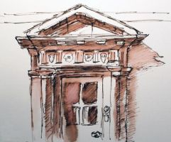 Small sandstone doorway and pediment pen and wash by birchley