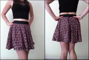 Pink Floral Skater / Circle Skirt by TombRaiderKuchen