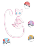 Mew and Pokeballs by KendraTheShinyEevee