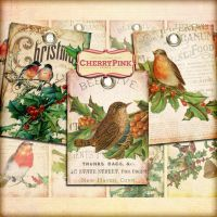 Vintage CHRISTMAS BIRD Tags Digital Collage Sheet by miabumbag