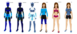 Aquos YJ outfits by VaderNihilus