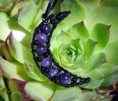 Amethyst and Onyx Necklace by MoonLitCreations