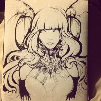 In Progress [Pen + Ink] - Succubus by amymiu