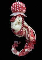 Red spotted jellyfish pendant by carmendee