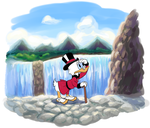 Scrooge McDuck at the waterfall by Nutty-Nutzis