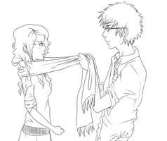 Commentarius Lineart - Scarf by batcii
