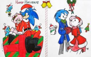 Merry Xmas: Sonic n' Amy by Kuyangkuyang