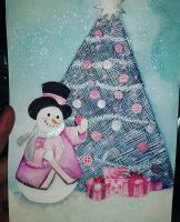 Breast cancer snow man by Tamoko