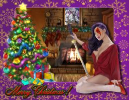 Christmas Psylocke (Purple Lips) by steveagoto