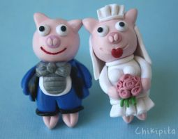 Lisa Simpsons pig bride and groom cufflinks by chikipita
