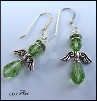 Peridot Angel Earrings by 1337-Art