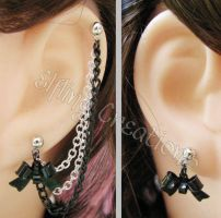 Black and Silver Bow Cartilage Chain Earrings by merigreenleaf