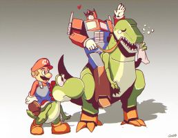 Optimus Mario and Yoshi Grimlock by GENZOMAN