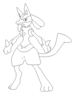 lucario lineart 5 by michy123
