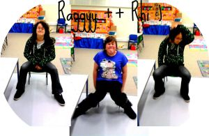 Me and Rhi on tiny chairs by Raggyy