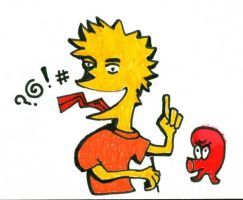 Bart Simpson and Qbert by Rayleighev