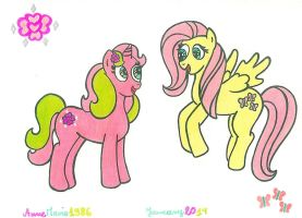 Glitter Rose And Fluttershy by AnneMarie1986
