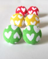 Colorful heart earrings by KooKooCraft