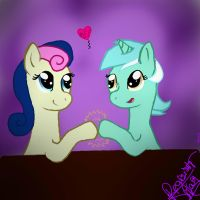 Lyra and Bon Bon by pegisisterswag