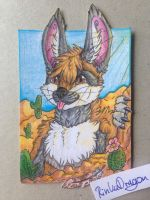 Itsy the Fennec (ACEO Commission) by Drache14