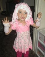 Fiona's new pink outfit...crochet by Phionnuala