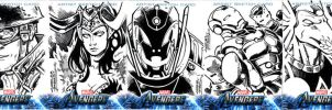 Avengers sketch cards Straight Ink by KidNotorious