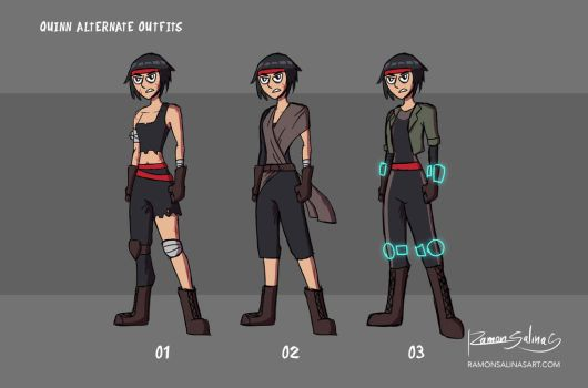 Quinn Alternate Outfits by ShadowGear65