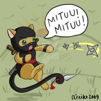 Miten the Ninja Kitten by xraiko