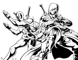 MvC3 - Red Hot Devils Lineart by Mystic-Forces