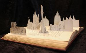 Spanish Skyline Book Sculpture by wetcanvas