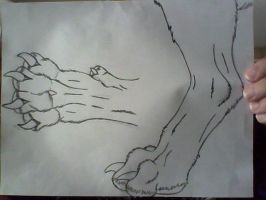 Werewolf Paw and Leg Sideview by FreebornFanatic