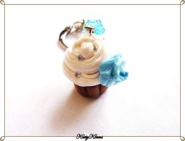 Blue Rose Cupcake Keychain by Cateaclysmic