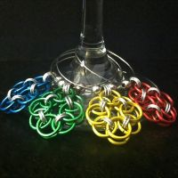 Primary Colors Helm Weave Chainmaille Wine Charms by Rosie-Periannath